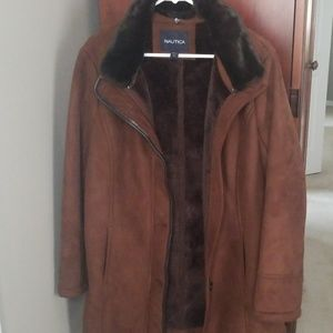 Nautica Jackets & Coats - Nautica Suede Jacket with Fur lining